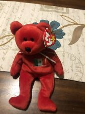 """Large Ty Red Bear """"Osito�; beanie original buddy baby 14� Tall; Mexico Flag; Tag"""