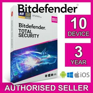 Bitdefender Total Security 10 Device 3 Year PC Mac iOS Android Activation Code