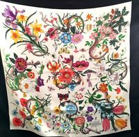 GUCCI FLORA SNAKE PRINT 100% SILK SCARF W/BOX-BOW-BAG! DIONYSIUS GG NEW!