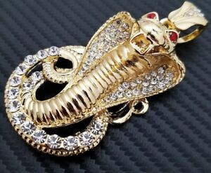 14K Yellow Gold Over Ruby Eyes Snake Customize Ice Out Simulated Diamond Unisex