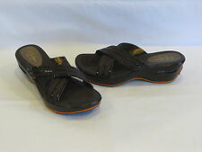 Cole Haan Nike Air Brown Fabric/Patent Leather Trim Wedge Heels/Slides - 7AA