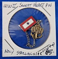 Original WWII Era Sweetheart US Navy Blue Star Sterling Silver 10k Gold Top Pin