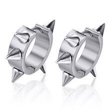 Silver Punk Women Men Earrings Ear Studs Spike Rivet Hoop Huggie Stainless Steel