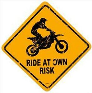Ride at Own Risk Road Steel Sign 345mm x 345mm (ah)