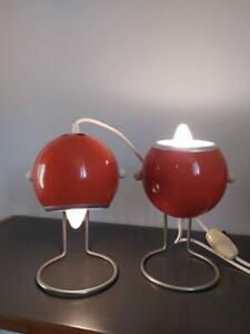 Vintage Pair of Orange and Chrome Eyeball Atomic Table Lamps - Vintage Lights
