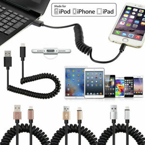 1 Metre Spiral Cable QUICK Charge & Sync Travel Black FOR USB iPHONE IPAD iPod