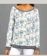 Women's Chaser LA Vintage Deconstructed Floral Fleece Sweatshirt Top S  NWT