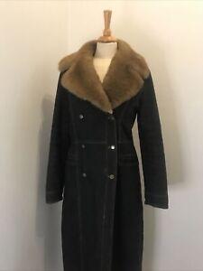 PER UNA Dark Blue Denim Long 70's Style Coat SMALL UK 8 - 10