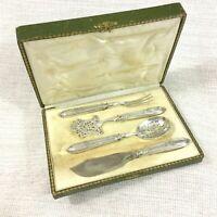 Antique French Silver Dessert Serving Cutlery Hallmarked Minerva Art Nouveau