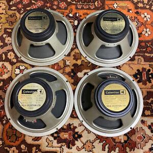 Matched Quad 4x Vintage 1978 Celestion G12M 25w T1221 Blackback 12 Speakers 1777