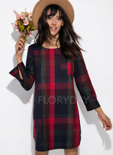Luxury Ladies Womens Cotton Check Long Sleeve Above Knee Casual Dress Size:S #4