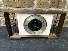 Vintage 1970's Metamek Mantle Clock With Twin Sunburst.