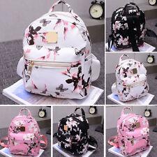 Ladies Floral Backpack Travel Faux Leather Handbag Rucksack Shoulder School Bag