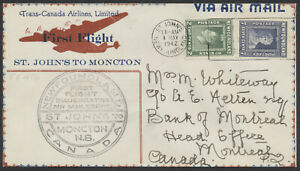 1942 Newfoundland St John's to Moncton NB First Flight, Nice Cachet