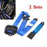 2 Sets Blue Universal Car Seat Belt 3 Point Lap & Diagonal Retractable Seatbelt