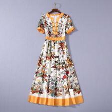runway Crew neck Short sleeves Panelled Print Floral Zipper Pleated dresses