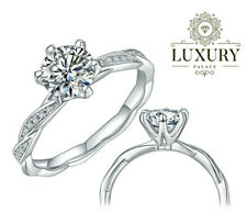 Engagement Ring 14K White Gold Finish 1Ct Round Cut Moissanite Twisted Solitaire