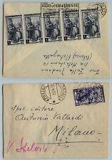 REPUBBLICA-Cinque 1L+20 L Italia al lavoro(635+642)-Busta PIETRAGALLA 26.4.1952