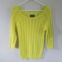 American Eagle Cable Knit Sweater Top M Lime 3/4 Button Sleeve Med Weight Work