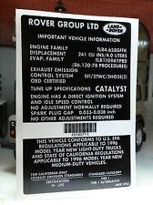 Land Range Rover 1996 P38 Se V8 4.0 Gasolina Catalizador Información Etiqueta