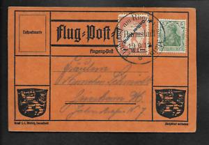 DR Flugpost 1912 Gelber Hund Darmstadt