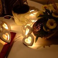 Romantic Wood HEART LED Solar Powered String Lights Garden Outdoor Fairy Summer