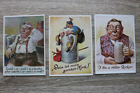 3 Humor Künstler AK Bayern 1950-60er Bier Bierkrug Zecher Alkohol Lederhosn ...