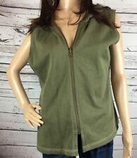 J Jill Cotton Hooded Vest Army Green Size Medium Zip Up