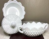 Fenton Hobnail White Milk Glass Round Puff Box W/ Lid & Oblong Handled Bowl