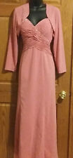Brides Mom Dress w Jacket & Train, Prom, Wedding Pink Size 8 Sm Org Cost $331.00