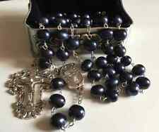 Black Tahitian (AAA 10MM) Real Pearl BEADS ROSARY CROSS GIFT NECKLACE Box