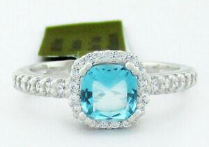 GENUINE 0.78 Cts BLUE TOPAZ & WHITE SAPPHIRE RING .925 Silver NWT Size 6