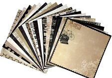 12X12 Scrapbook Paper Lot 20 Sheets Beige & Black Vinatge Print Card Making L111