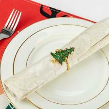 New listing Anphsin Set of 6 Christmas Napkin Rings- Xmas Tree with Red Berries Napkin for