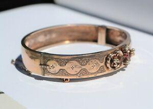 Bracelet ouvrant en argent massif vermeil perles et rubis XIXè Bijou ancien