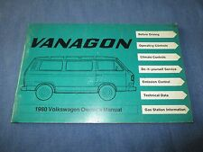 1980 VOLKSWAGEN VW VANAGON VAN BUS OWNERS MANUAL ORIGINAL GAS