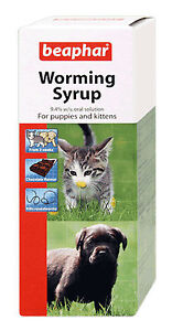 Beaphar Worming Syrup for Puppies & Kittens 45ml kills Roundworm