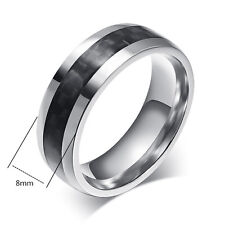 Men's Fashion Black Carbon Fiber Stainless Steel Ring Wedding Band Size 7-13