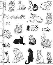 Full Sheet of Rubber # 106  Cat Rubber Stamp Dies, Black Cat, Persian, & MORE
