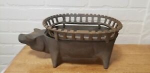 VINTAGE CAST IRON RARE ONE PIECE PIG TABLETOP HIBACHI GRILL
