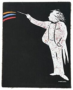 Rare Vintage Marushka Canvas Wall Art Conductor stretched framed 20x16