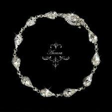 Swarovski Crystal Elements Bracelet Teardrop Silver Pear Wedding Bridal Bride
