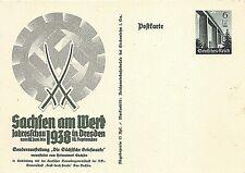 POSTAL STATIONERY - GERMANY - THIRD REICH - 1938 - SAXONY AT WORK -  DRESDEN