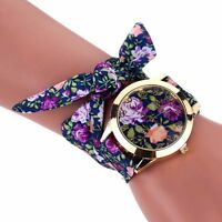 Women Fashion Geneva Cloth Band Rose Dial Bracelet Quartz Dress Wrist Watches #