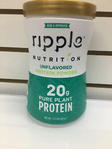 Ripple Nutrition Pure Plant Protein Powder Unflavored - 19.6 oz Exp 8/2021
