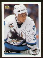 Dale Craigwell signed autograph auto 1992-93 UD Hockey Trading Card