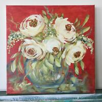 "Original Painting Roses Bouquet Modern Acrylic Art 10""x10""x0.8 Flowers Textured"