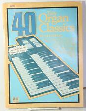 40 Easy Organ Classics Sheet Music Booklet Vtg 1982 Clair de Lune, Largo, Melody