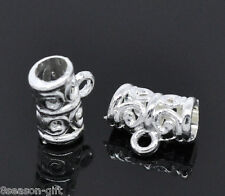 500Pcs Silver Plated Pattern Bail Beads 11x5mm