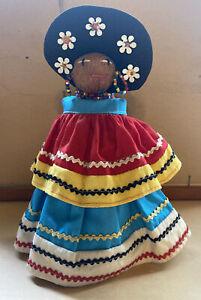 """Vintage 1950s Native American Seminole Indian Palmetto Fiber Doll 7"""" Tall"""